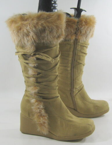 """new  Camel Color 3/"""" High Wedge Heel  Knee Boot Top Rabbit Fur Size 7"""