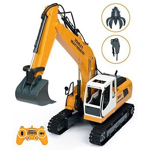 RC Construction Excavator Tractor Toy With Metal Shovel Digger Grasp Control