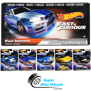 Hot-Wheels-Premium-Fast-amp-Furious-Fast-Imports-A-Case-Box-Set-of-5-Cars
