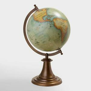 Image Is Loading Antiqued Green World Globe On Br Stand Axis