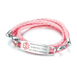 Image Is Loading Pink Women Medical Alert Id Braided Pu Leather