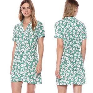 Calvin-Klein-Jeans-Green-Floral-Shirt-Dress-Women-039-s-Medium-Green-NWT-98