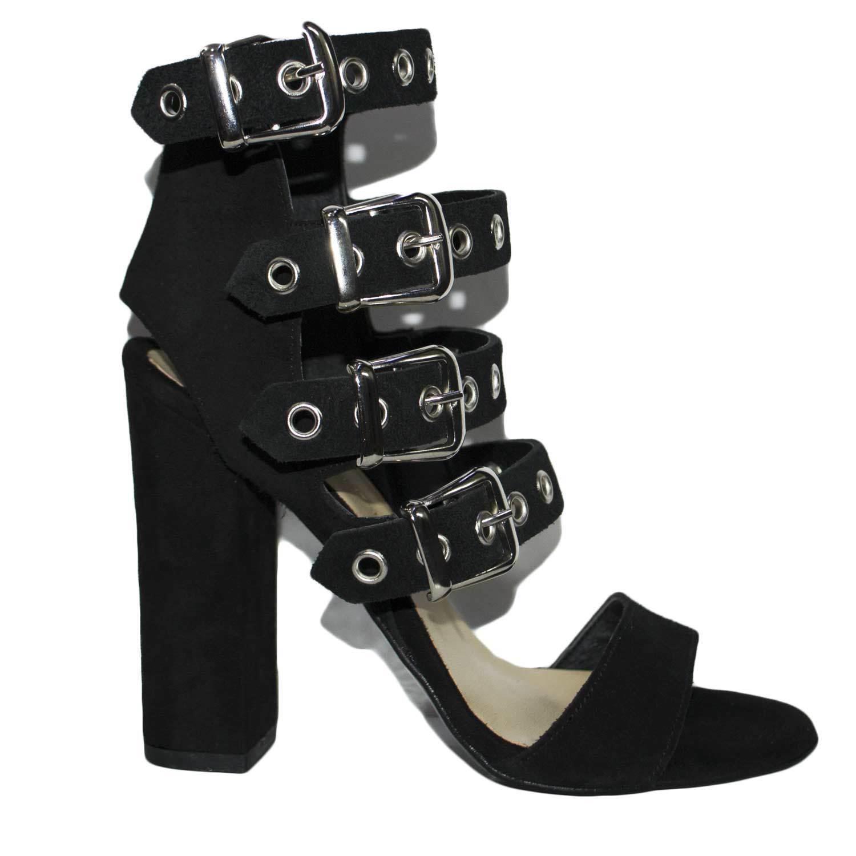 Sandali tacco doppio nero art.st9094 made in italy accessori fibbia argento camo