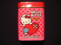 """Hello Kitty - Bandages in Red/Pink Tin - 15 Count """"Band-Aid"""" 3 Styles"""