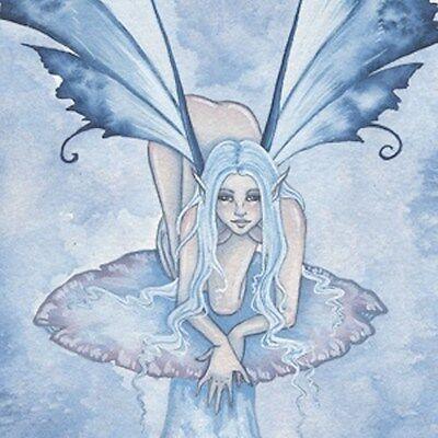 Amy Brown Lucite Double Sided Keychain Fairy Faery Blue Lumina Fantasy Mushroom