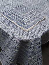 Blue Indian Block Print Tablecloth Cotton 60 X 90 Inches NIP