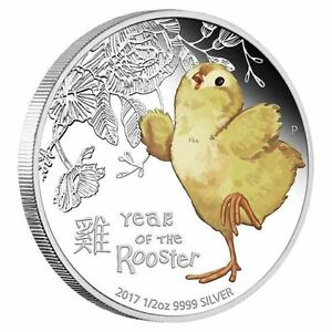 2017-Tuvalu-cute-BABY-Rooster-1-2-oz-Silver-Proof-50c-Coin-Lunar-Year-Colorized
