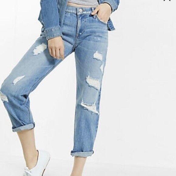 Express Distressed Rigid Boyfriend Jeans sz 6R NEW