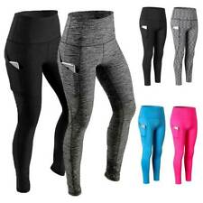 Women High Waist Yoga Leggings Pocket Pants Fitness Sport Gym Workout Athletic G