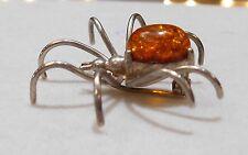 Vintage Dimensional Arachnid Spider Brooch Pin Amber & Sterling SIlver #1