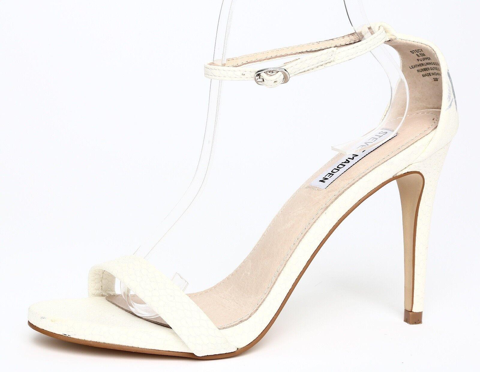 Steve Madden Stecy Leather blanc Ankle Strap Sandal Heels Sz 8.5M 2570