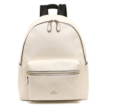 NWT Coach F38288 Charlie Pebble Leather Backpack in Chalk $395