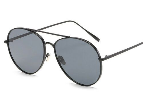 Premium Quality Trending Aviator Sunglasses Black Tinted Lens Black Metal Frame