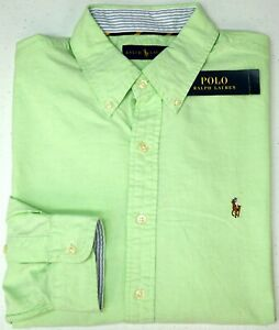 NWT-89-Polo-Ralph-Lauren-Light-Green-LS-Oxford-Cotton-Shirt-Mens-Size-M-L-XL
