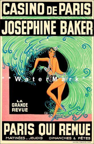 Josephine Baker 1930 Revue Casino De Paris Vintage Poster Print Actress Dancer