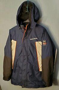 Vtg-Nautica-Womens-Winter-Coat-Jacket-Colorblock-Hooded-Zip-Snap-Lined-XL-18-20
