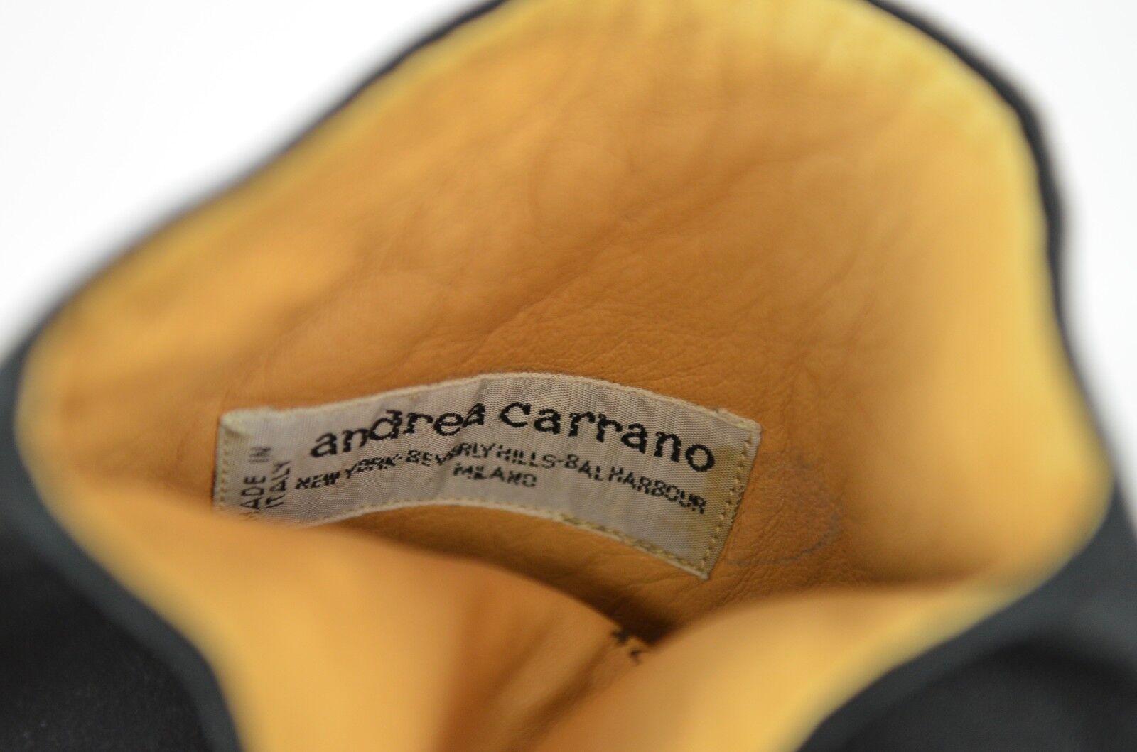 Andrea Carrano para mujer botas De De botas Gamuza Talla 7.5 Negro Italia Taco Alto Fiesta Boho a1f856