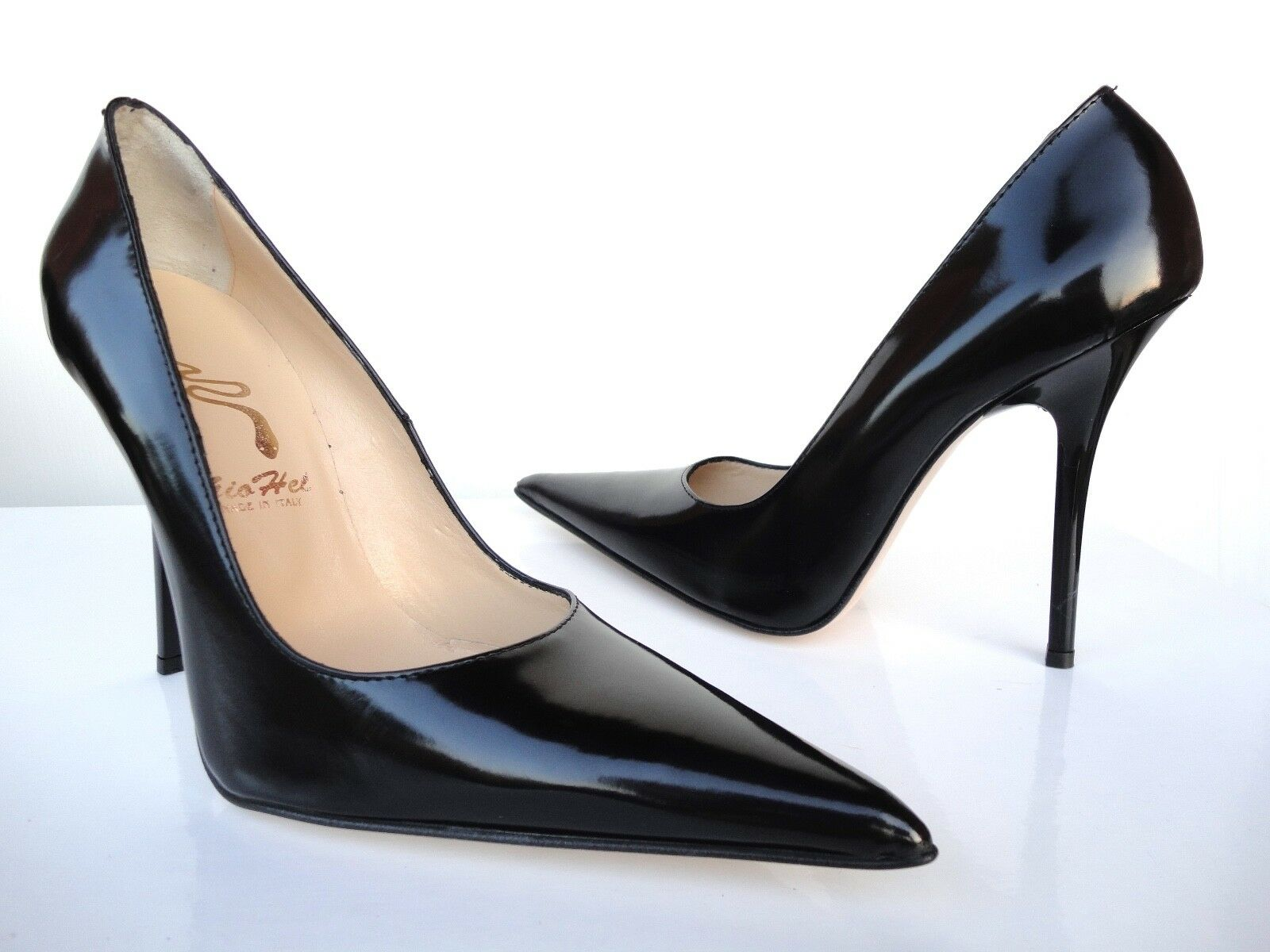 GIOHEL ITALY HIGH HEELS POINTY TOE PUMPS PUMPS TOE SCHUHE LEATHER DECOLTE BLACK SCHWARZ 40 743ae5