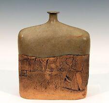 Big Vintage Slab Formed Studio Pottery Square Bottle Vase Gambone Signed SLS