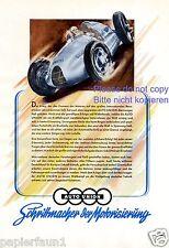 Autounion Rennwagen Typ D XL Reklame von 1944 ! Rennsport A B C 3. Reich Audi +