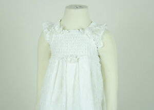 Lace-Flowergirl-Dress-floral-design-shirred-elastic-back-Sz-12M-7-White-Ivory