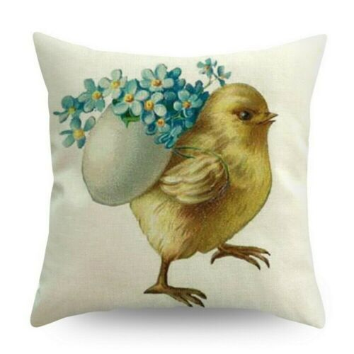 """18/"""" Spring Easter Bunny Egg Pillow Case Throw Cushion Cover Car Home Sofa Decor"""