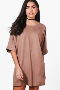 8ac79086a Boohoo Abi Suedette Oversized T-Shirt Dress Sand Size UK 8 rrp £18 ...