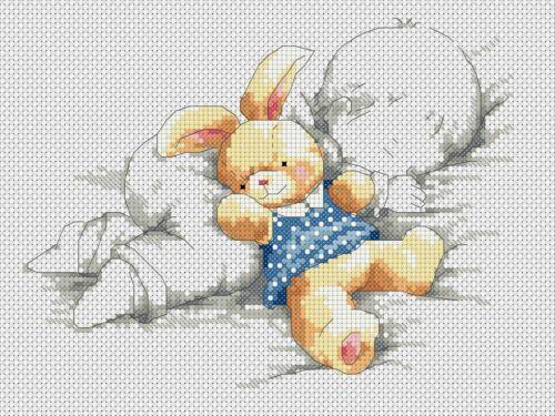 Cross stitch chart New Baby Sampler Baby Rabbit Blue Flowerpower 37-uk