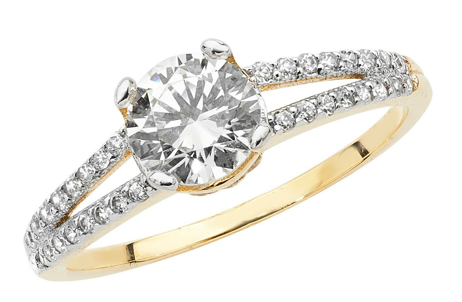 SOLITARIO anello di di di fidanzamento Donne Giallo oro 1 Carati Solitario Anello e0a368