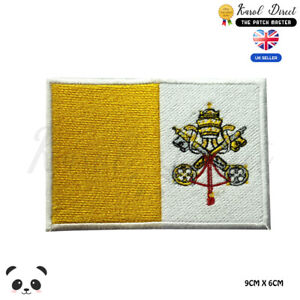 Vatican-City-National-Flag-Embroidered-Iron-On-Sew-On-Patch-Badge