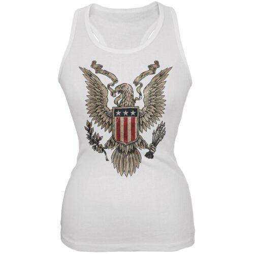 4th July Born Free Vintage American Bald Eagle White Juniors Tank Top