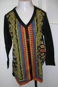 855ca0211b0 NEW ULLA POPKEN Framed Border Print Tunic Blouse Top Black Multi XL ...