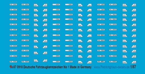 Peddinghaus-Decals 1//87 0918 Deutsche Fahrzeugkennzeichen WH /& der Sonderverbänd