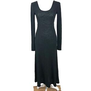 J-Jill-Maxi-Dress-Long-Sleeve-Scoop-Neck-Pockets-Modest-Black-Size-S-Small