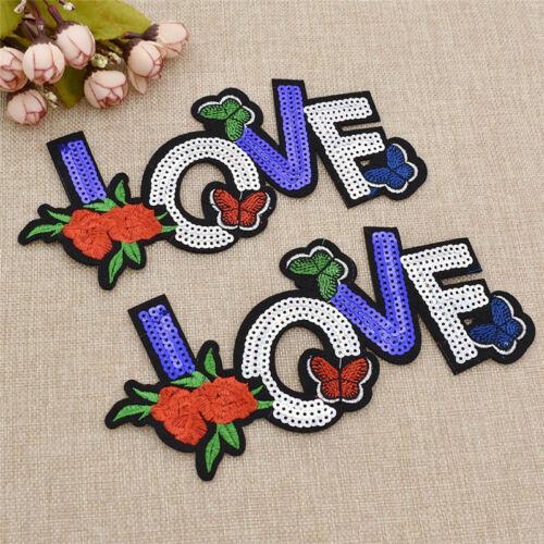 Flower Letter LOVE Embroidered Patches Emblem Badge Jeans Patch Vest Applique