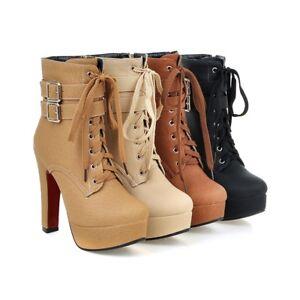 Womens-Buckles-High-Heel-Lace-up-Platform-Ankle-Boots-Shoes-AU-Plus-Size-2-5-13