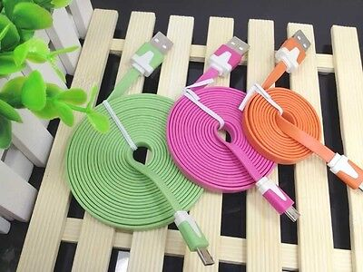 Colorful flat soft sync data charging cable FOR Android cell phones micro USB