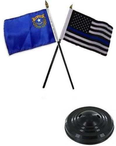 "Nevada State /& USA Police Blue 4/""x6/"" Flag Desk Set Table Stick Black Base"