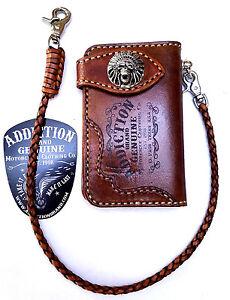 Leather-Indian-chief-skull-biker-trucker-wallet-Brown-motorcycle-Chain-Wallet