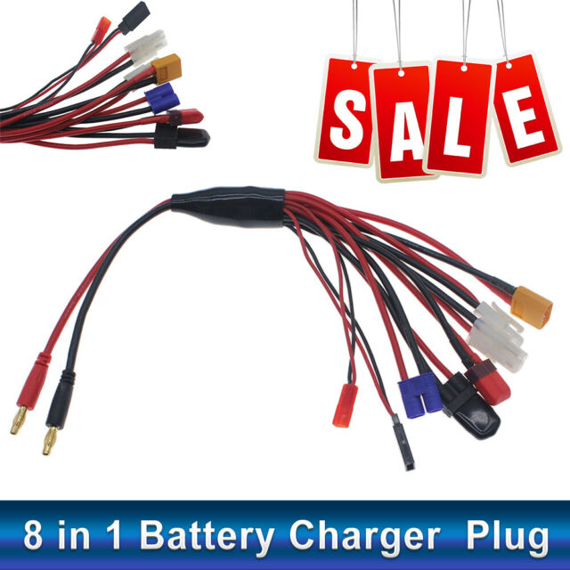 8 in 1 Lipo Battery Charger Multi Charging Plug Convert Cable Line for RC Car US