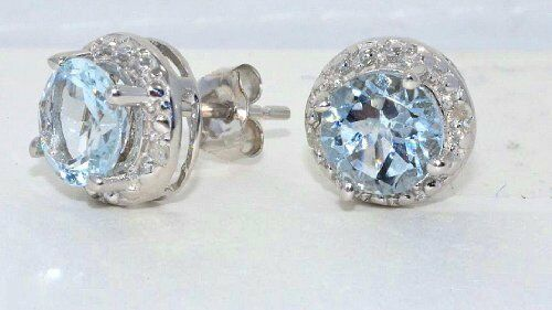 Aquamarine /& Diamond Round Stud Earrings White Gold Silver