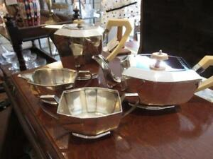 Viner's Sterling Solid Silver  Art deco tea and coffee service set 1934