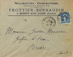 45 Bonny-sur-loire Enveloppe Frottier-bernaudin Nouveautes Confection 1926 Kupvfjjs-08003519-151806402