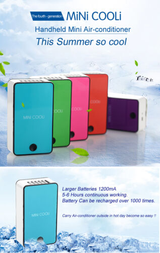 BLUE PURPLE PORTABLE MINI AIR CONDITIONER FAN RECHARGEABLE BATTERY COOL FEEL UK