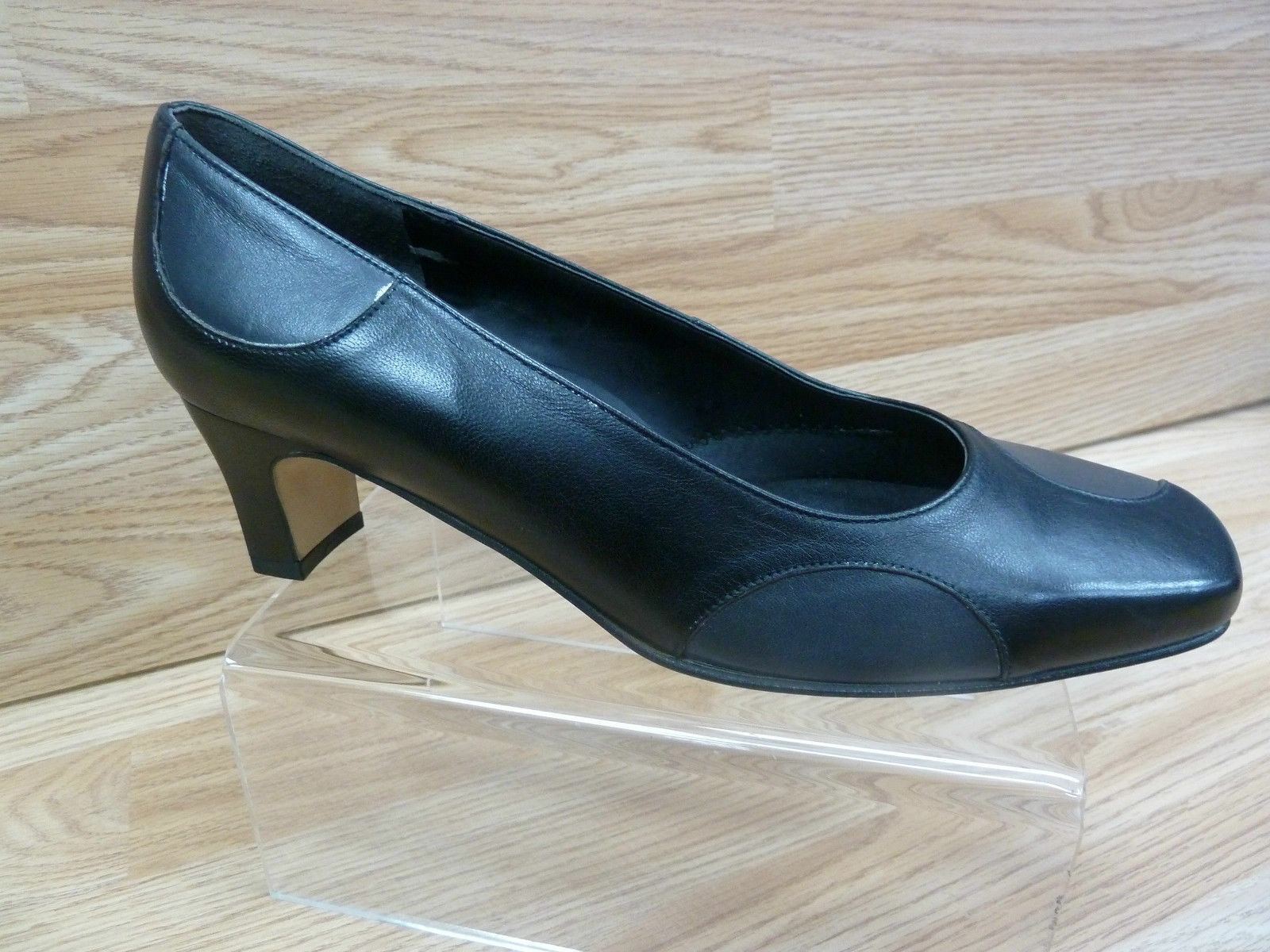 Ladies Equity Vienna Wide E Fit Soft Black Grey Leather Polka Dot Court shoes 7