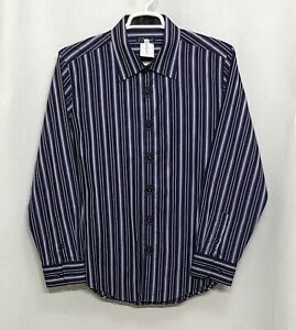 Mens-7-Diamonds-XL-Purple-Striped-100-Cotton-Long-Sleeve-Button-Front-Shirt