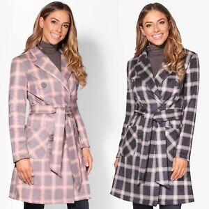 designer fashion aca5e 417f5 Details zu KRISP Damen Klassischer Trench Coat Mantel Jacke Kariert Rosa  Grau Gürtel Knöpfe