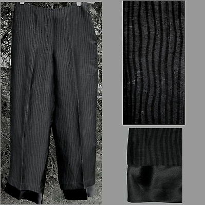 MAG Magaschoni pants 10 Linen Silk Black Dressy Light Lined Slacks Striped