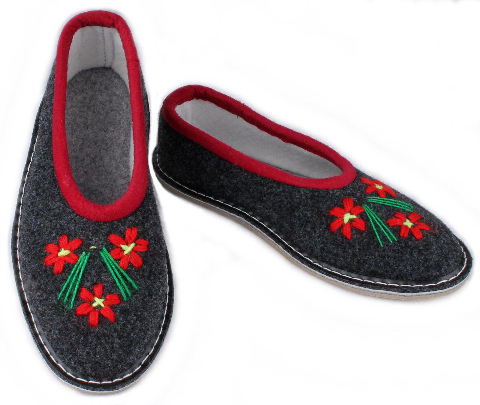 Damen FilzhausSchuhe Halbschuhe Blumen rot Pantoletten Pantoffeln 36 bis 41 NEU