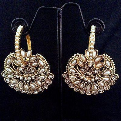 Pearl bali hoop with flower polki colourful dangler India ADIVA earring v784